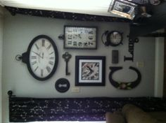 """To steal a quote from LeighAnn... I am """"refreshing my nest"""" this weekend.  Loving my clock wall. Clock Wall, Clock Decor, Picture Arrangements On Wall, Picture Shelves, Picture Wall, Picture Ideas, Industrial Clocks, Clock Display, Wedding Wall"""