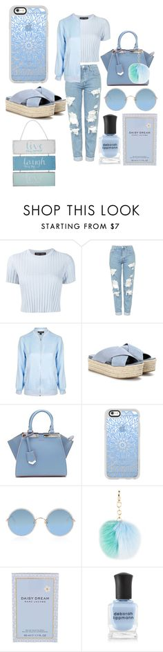 """""""blue"""" by alya-rayhani ❤ liked on Polyvore featuring Proenza Schouler, Topshop, Miu Miu, Fendi, Casetify, Sunday Somewhere, Marc Jacobs, Deborah Lippmann, At Home with Ashley Thomas and StreetStyle"""