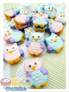 Owl macarons, made specially for an Owl theme'd birthday. - Made by Crumbs - https://www.facebook.com/crumbs.macaron