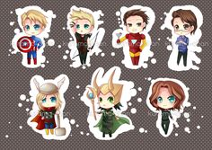 -- Avengers Chibi Keychain set -- by *Kurama-chan on deviantART $3 each. I really want Loki