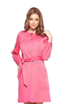 LaDonna Sensation Pink Trenchcoat, women`s trenchcoat, accessorized with tied waistband, with pockets, long sleeves, metal eyelets fastening, inside lining, nonelastic fabric
