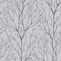 Shimmer Tree Wallpaper Soft Grey, Silver (ILW980033)