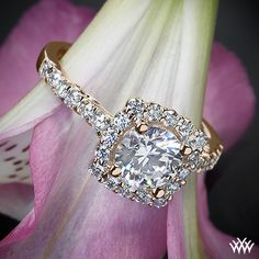 Rose Gold, Verragio Cushion Halo Diamond Engagement Ring from the Verragio Insignia Collection.