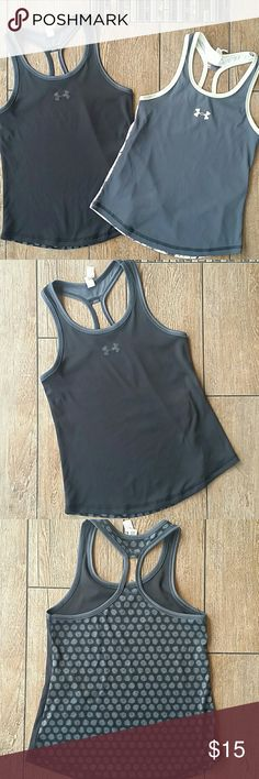 💥BUNDLE💥 UNDER ARMOUR GIRLS TANKS 2 racerback loose fit tanks 1 black with polka dot back 1 dark gray with light yellow and gray back 1 small and 1 xsmall, but my daughter wore them at the same time, so fit is the same 100% poly No rips or stains Smoke free home Under Armour Shirts & Tops Tank Tops