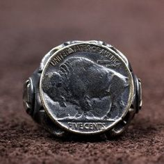 Men's Sterling Silver Buffalo Coin Ring – Tattoo Styles & Tattoo Placement Mens Silver Jewelry, Silver Gifts, Coin Ring, Ring Verlobung, Signet Ring, Sterling Silver Cross, Sterling Silver Jewelry, 925 Silver, Buffalo
