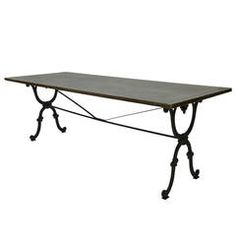19th Century Cast Iron Base Writing or Dining Table with New Antiqued Zinc Top