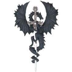 Black Dragon With Sword Wall Plaque - 71221 by Medieval Collectibles