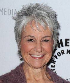 modern short hairstyle for gray hair