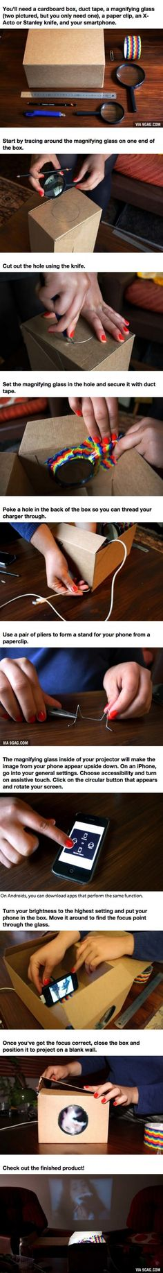 Make A Cardboard Box Smartphone Projector For Just  $3