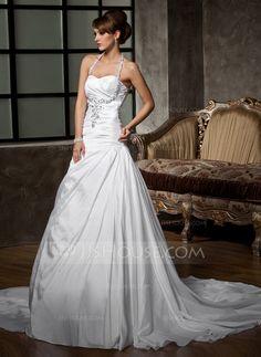 Wedding Dresses - $186.99 - A-Line/Princess Halter Court Train Taffeta Wedding Dress With Ruffle Beadwork Sequins (002011410) http://jjshouse.com/A-Line-Princess-Halter-Court-Train-Taffeta-Wedding-Dress-With-Ruffle-Beadwork-Sequins-002011410-g11410