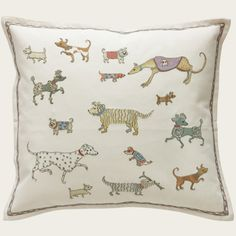 DOGS ON PARADE BY DOMENICA MORE GORDON  £110.00 Hand embroidered cushion 55% linen 45% cotton  This collection is designed by the Scottish artist Domenica More Gordon. Her wonderful designs will captivate the hearts of any dog lover. Style number: CD713 Size: 18x18 in Size: 346x46 cm