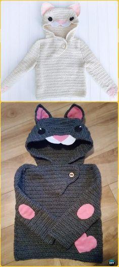 Crochet Le Chat Blanc Cat Hoodie Pullover SweaterFreePattern - Crochet Kids Sweater Tops Free Patterns