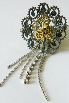 Steampunk Clockwork Cameo Dress/Formal Ring, Size 5.5 - 8 (Metal Stretch Band) - Rings