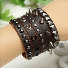 Rock Punk Rivets Spike PU Leather Wide Wristband Bracelet For Men