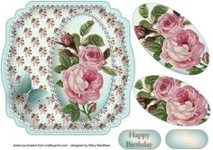 Shabby Chic Pink Roses Shaped Card on Craftsuprint designed by Mary MacBean…