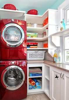 Love the turquoise and red for laundry room/family closet!