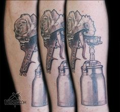 Spray can with flowers tattoo by Nasa at BLTNYC Tattoo Shop Queens #tattoo #ink #tattooartist #bodyart #cooltattoo
