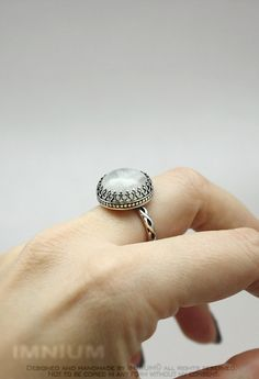 White moonstone ring - sterling silver US size 8, wedding jewelry filigree metalwork, victorian goth