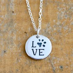 Sterling silver Love your Pet necklace with paw by JustJaynes, $26.00