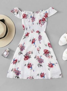 Shop Floral Print Ruffle Trim Dress at ROMWE, discover more fashion styles online. Cute Summer Outfits, Cute Casual Outfits, Pretty Outfits, Pretty Dresses, Stylish Outfits, Casual Dresses, Summer Dresses, Teen Dresses, Girls Fashion Clothes