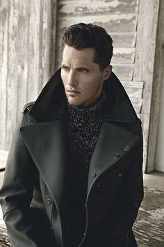 Men's perfect black trench coat
