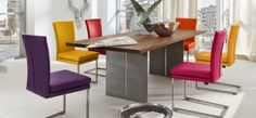 [ Chairs Colorful Dining Room Sets Two Color Chair Metal Buy Top Quality ] - Best Free Home Design Idea & Inspiration Colored Dining Chairs, Grey Dining Tables, Luxury Dining Tables, Steel Dining Table, Dining Room Colors, Solid Wood Dining Table, Dining Room Sets, Dining Room Design, Dining Room Furniture