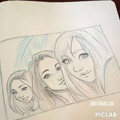 Instagram photo by juditmallolart - Summer selfie sketch! I miss these ladies so much! @itslopez @andreaslope