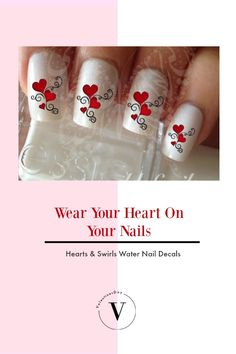 Valentine's Day Nail Art Red Hearts and Swirls Nail Water Decals Wraps #affiliate #valentinesday #valentinesnails #nailartdesigns