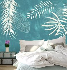 Leaf Wallpaper Palm Leaves Wall Mural Exotic Home Decor Natu.- Leaf Wallpaper Palm Leaves Wall Mural Exotic Home Decor Natural Cafe Design Living Room Bedroom Entryway Leaf Wallpaper Palm Leaves Wall Mural Exotic Home Decor Living Room Bedroom, Dream Bedroom, Interior Design Living Room, Living Room Designs, Tree Wallpaper Mural, Palm Leaf Wallpaper, Bedroom Wallpaper, Café Design, Exotic Homes