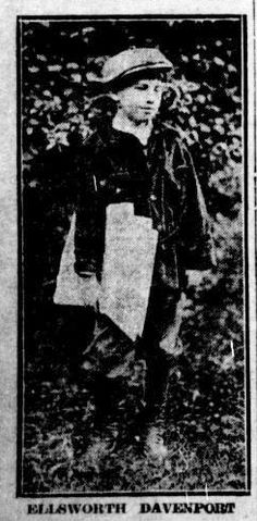 Newspaper Boy Ellsworth Davenport dressed for work from Tacoma Times June 16, 1917 newspaperboywithhat_tacomatimes_june161917.jpg