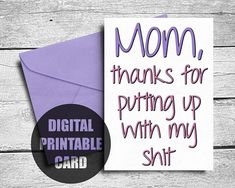 Funny Mother's Day Card | Printable | Thank You Card Mom | Swear Card For Mom | Thanks Mom Card | Ca Best Mothers Day Cards, Mom Cards, Funny Mothers Day, Mom Funny, Happy Mothers Day, Thank You Mom, Thanks Mom, Birthday Cards For Mom, Funny Birthday Cards