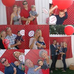 Hang material / table cloth on shed for photo booth photos! have lil signs and props so cute for zachs 1st birthday