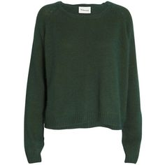 Ganni Angora knit sweater ($145) ❤ liked on Polyvore featuring tops, sweaters, shirts, jumpers, green, short sleeve tops, long-sleeve shirt, green sweater, loose long sleeve shirts and knit sweater