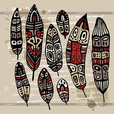 Illustration of Peacock Feather set. vector art, clipart and stock vectors. Feather Painting, Feather Art, Arte Tribal, Tribal Art, Kunst Der Aborigines, Afrique Art, African Art Paintings, Feather Vector, Native American Symbols
