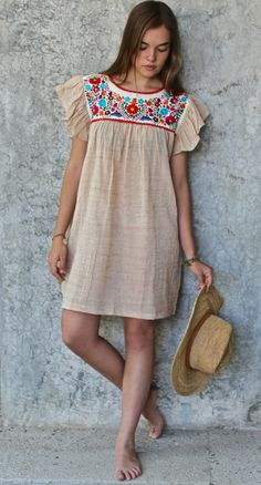 Beautiful Summer Dress made in Organic Cotton And Hand Embroidered by Natives from the state of Puebla,in the community of Chilac. It has hidden pockets! The perfect combo for any eco friendly fashionista! Mexican Blouse, Mexican Outfit, Mexican Dresses, Embroidery Fashion, Embroidery Dress, Hand Embroidery, Embroidery Patterns, Mexican Fashion, Beautiful Summer Dresses