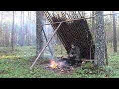 Укрытие от дождя в сосновом лесу из природных материалов. - YouTube