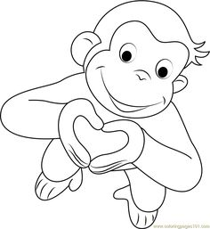 curious george with balloons coloring pages curious george with