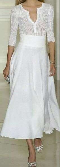 Ralph Lauren pares a sheer henley with a flowy skirt...love! this!