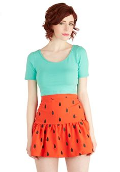 Test the Watermelon Skirt. Nothing says fun in the sunshine like a wedge of watermelon - and this bright red skirt makes any experience all the sweeter! #red #modcloth