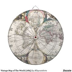 Vintage Map of The World (1685) Dartboard With Darts