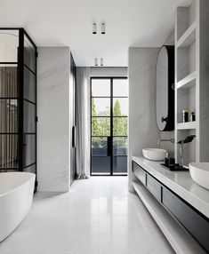 Modern black & white bathroom