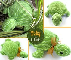 Toby the Stuffed Turtle with a Hidden PJ Pocket diy