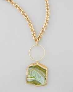 Love this: Hammered Agate Pendant Necklace 33l @Lyst