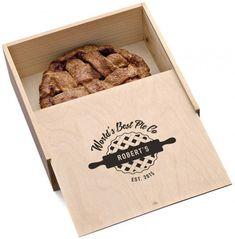 Cool personalized wooden pie box makes a great hostess or holiday gift for a baker. Love the clean design!