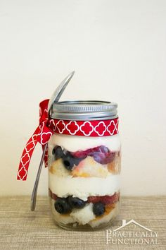 Serve trifle in mason jars to get easy individual servings. Just tie a spoon to the jar with a ribbon, and serve! See the summer peach blueberry trifle recipe or strawberry blueberry trifle recipe here!