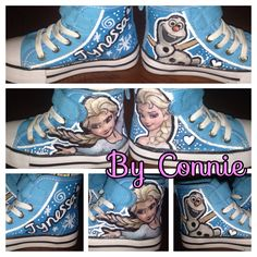 Custom Frozen Elsa shoes. Decoupage and Hand painted Elsa and Olaf from the hit Disney Movie FROZEN. These are the perfect gift for the Frozen Fan in your life.   These shoes can be custom made with the movie, character, logo, sports team of your choice.   Hand painted designs may have slight variations. Please include the size you want. (Infant, toddler, child, adult)  1-2 week turnaround time
