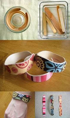 Cómo hacer una pulsera con palitos de helado. Nada más rico que comer helado, y que mejor opción para aprovechar el palito que hacer pulseras con el.! Se