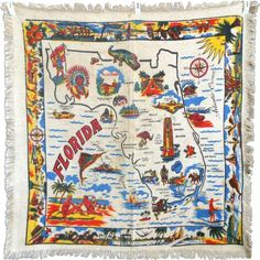 Vintage Florida Pre Disney Fringed Souvenir Tablecloth with Scenic Map and Attractions, Alligators, Flamingos, Beaches