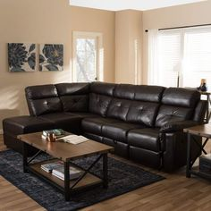 Baxton Studio Roland Modern and Contemporary Dark Brown Faux Leather Sectional with Recliner and Left Facing Storage Chaise Leather Reclining Sectional, Chaise Sofa, Reclining Sofa, Recliner, Sectional Sofas, Couch, Sofa Furniture, Living Room Furniture, Living Room Decor