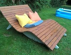 Relax lounger for two (recycled terrace wood) garden, wood, relax, relax - Selbermachen - Holz - Pallet Outdoor Loungers, Outdoor Seating, Outdoor Decor, Yard Furniture, Outdoor Furniture, Garden In The Woods, Diy Holz, Diy Planters, Woodworking Projects Plans